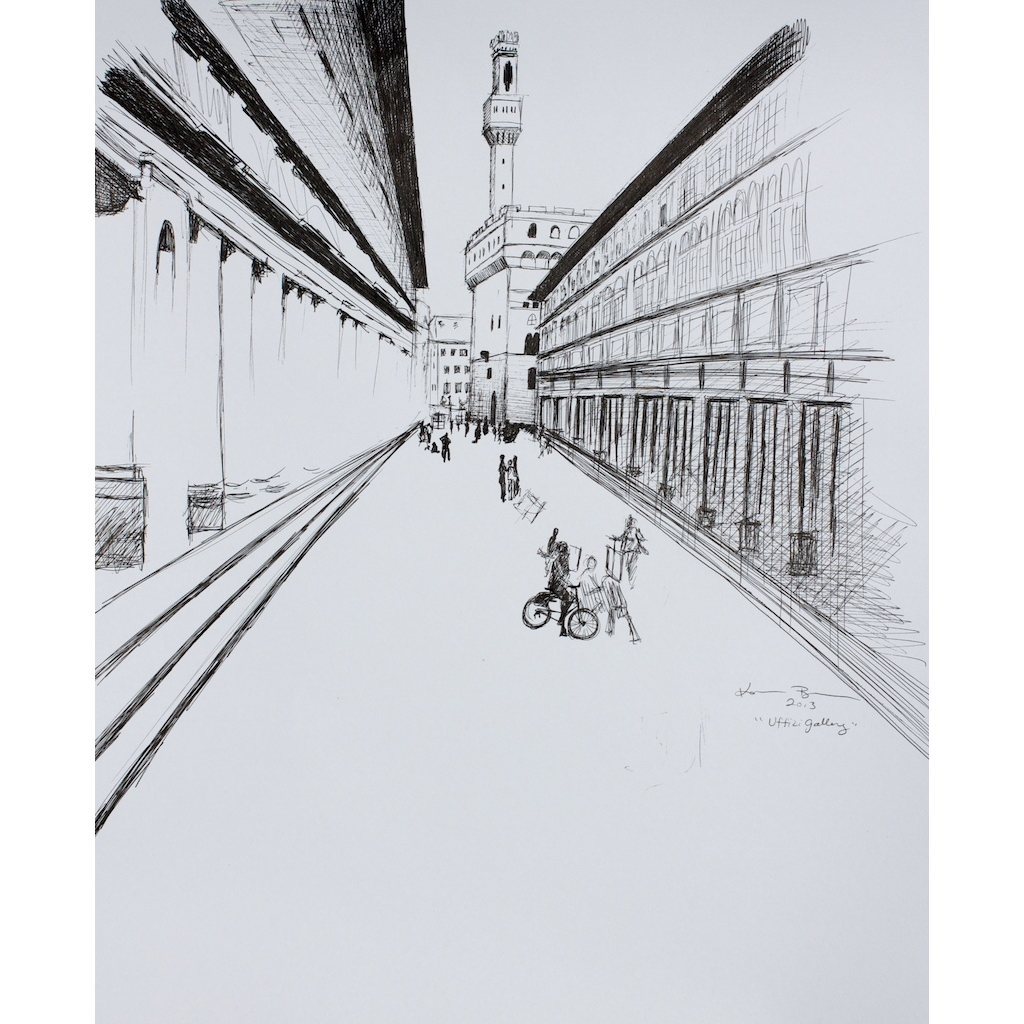 photo: pen on paper drawing of the Uffizi Gallery in Florence Italy by artist Katrie Bonanno. Uffizi Gallery