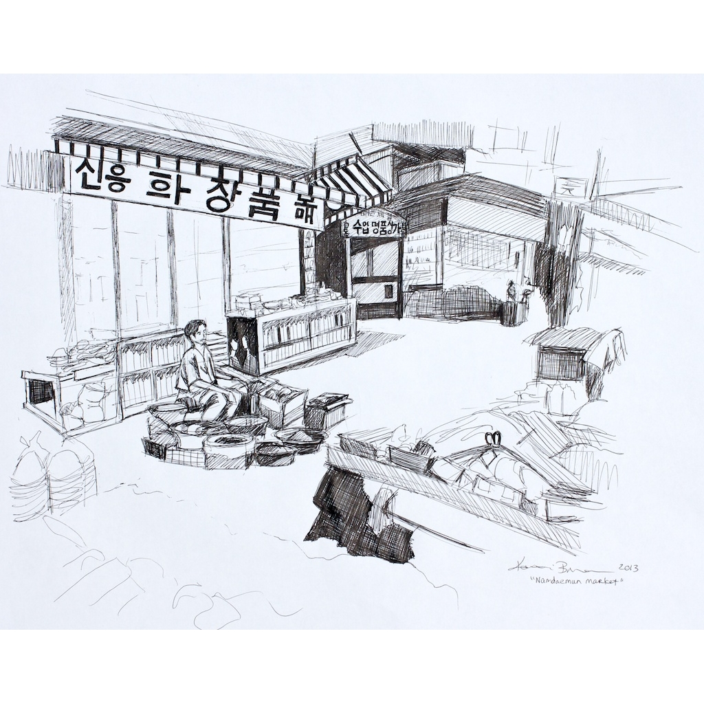 photo: pen on paper drawing of Namdaemun Market in Seoul, South Korea by artist Katrie Bonanno. Namdaemun Market
