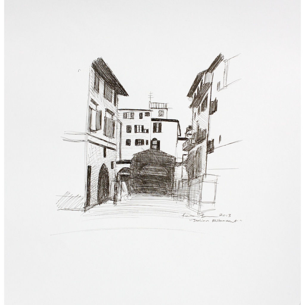 photo: pen on paper drawing of Italian restaurant in Florence, Italy by artist Katrie Bonanno. Italian Restaurant