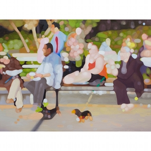 image: oil on canvas painting by artist Katrie Bonanno of people and pets enjoying a Saturday in the Park