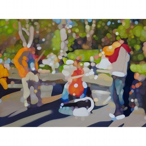 image: oil on canvas painting by artist Katrie Bonanno of violinists playing Canon in D in Washington Square Park.
