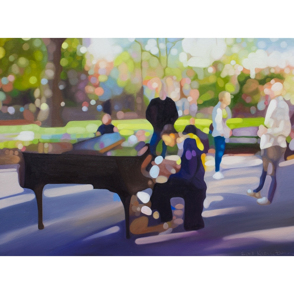 Oil Painting on canvas of street pianist in Washington Square Park