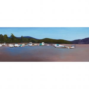 image: oil on wood board painting by artist Katrie Bonanno of the Hudson River waterfront in Cold Spring, NY